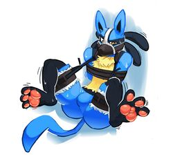 2016 anthro ass black_fur blue_fur bondage bondage bound bulge canine digital_drawing_(artwork) digital_media_(artwork) featureless_crotch fur hicanyoumooforme lucario male mammal muzzle_(object) muzzled nintendo nude pawpads pink_pawpads pokemon simple_background solo struggling video_games white_background yellow_eyes yellow_fur