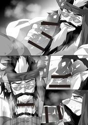 2boys bara beard deepthroat erection facial_hair fellatio glasses large_penis male_focus monochrome multiple_boys muscle naughty_face penis penis_grab saliva smile steam sucking wince yaoi