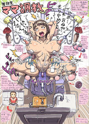 ahe_gao arms_behind_head blush breasts brown_eyes brown_hair directional_arrow drooling erect_nipples female ha_ku_ronofu_jin huge_breasts humiliation impregnation midriff milking moaning nipples nude object_insertion original predicament_bondage restrained saliva sex_machine solo solo_focus spread_legs sweat tongue tongue_out translated trembling vaginal_object_insertion vaginal_penetration