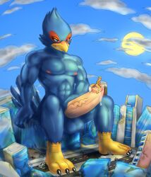 avian bird canine car city clothing destruction erection falco_lombardi feet fox fox_mccloud macro male mammal nintendo penis precum soina star_fox stomping swimsuit vehicle video_games wolf wolf_o'donnell