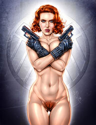 1girl actress agents_of_s.h.i.e.l.d. armando_huerta avengers bare_shoulders belly black_widow black_widow_(marvel) blue_eyes breasts celebrity cleavage colored covered_breasts female female_only fingerless_gloves gloves gun hips holding_gun holding_weapon human large_breasts legs lipstick makeup marvel marvel_comics nail_polish natasha_romanoff navel orange_hair pubic_hair pussy scarlett_johansson short_hair solo standing tagme thighs topless vagina weapon