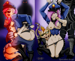 2016 angry arms_behind_back bouned breasts breasts_out caitlyn cop furry imminent_rape kneeling league_of_legends marcobodt officer officer_caitlyn officer_vi open_shirt panties penis_on_face police rape rat spellcaster_knight twitch undressing vandal_twitch vi