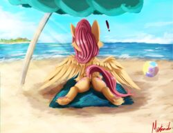! 2017 anus ass beach cutie_mark equine feathered_wings feathers female feral fluttershy_(mlp) friendship_is_magic hair mammal miokomata my_little_pony outside pegasus pussy rear_view seaside solo water wings