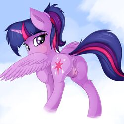 2017 alicorn anus ass cloud cutie_mark dock equine feathered_wings feathers female feral friendship_is_magic hair hi_res horn mammal my_little_pony outside purple_eyes pussy pussy_juice solo twilight_sparkle_(mlp) twiren wings