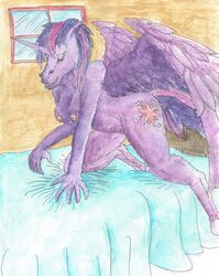 2017 alicorn anthro bed bedroom breasts cutie_mark equine feathers female friendship_is_magic fur hair hooves horn horse invalid_tag mammal my_little_pony nipples nude nyghtmar3 pony pussy seductive smile solo traditional_media_(artwork) twilight_sparkle_(mlp) watercolor_(artwork) wings