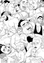ahe_gao anal bara beard blush body_hair cum drooling epcs facial facial_hair happy_sex male_focus monochrome multiple_boys muscle naughty_face pecs saliva sex tongue tongue_out wince yaoi
