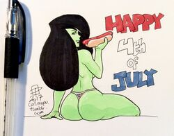 back_view callmepo female kim_possible shego solo thong topless