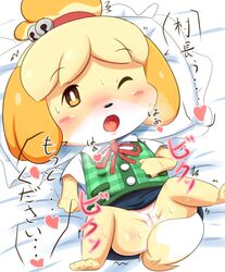 3_toes 4_fingers :o animal_crossing bangs bedding bell black_nose blonde_hair blush bottomless breath brown_eyes canine canine clothed clothing digital_media_(artwork) female fur hair hair_tie heart isabelle_(animal_crossing) japanese_text jingle_bell kemono lying mammal motion_lines multicolored_fur nintendo on_back open_mouth paws pillow plaid pussy ratipiko ribbons semi-anthro shaking short_sleeves solo speech_bubble spread_legs spreading sweater_vest text toes tongue topknot trembling vest video_games white_fur white_shirt yellow_fur