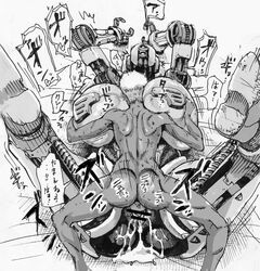 arms_up ass assaultron big_breasts breast_grab breast_squeeze breasts cum cum_inside double_deck faceless_male fallout fallout_4 female gigantic_breasts heart huge_breasts hyper_breasts japanese_text machine male monochrome muscle_tone muscular on_back overflow pussy robot sex size_difference small_dom_big_sub spread_legs spreading straight sweat technophilia text translation_request video_games