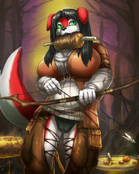 anthro bow_(weapon) breasts camel_toe canine clothed clothing female link2004 mammal meat ranged_weapon solo standing underwear weapon