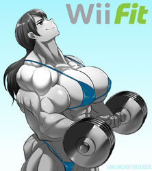 biceps bikini breasts cleavage elee0228 extreme_muscles female gao-lukchup grey_skin large_breasts muscles muscular_female nintendo ponytail solo super_smash_bros. weights wii_fit wii_fit_trainer