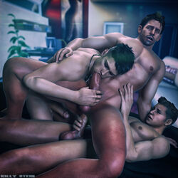 3boys 3d anal bara chris_redfield dante devil_may_cry erection fellatio killystein male_only multiple_boys muscle nude penis resident_evil sex source_filmmaker straddling sucking testicles threesome wince yaoi
