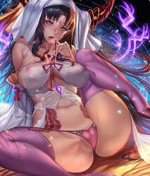 1girl bare_shoulders belly big_breasts black_hair blonde breasts cameltoe clavicle cleavage covered_breasts curvaceous detached_sleeves dress facial_mark fate/extra fate/extra_ccc fate/grand_order fate_(series) female female_only forehead_mark gtunver habit high_resolution hips hood horn_ring horns huge_breasts large_breasts legs legwear light-skinned light-skinned_female long_hair looking_at_viewer midriff navel navel_piercing nun open_mouth panties pantsu parted_lips piercing pink_legwear pink_panties pink_stockings pink_thighhighs pink_underwear pointed_ears revealing_clothes revision saliva salvia sesshouin_kiara sideboob signature sitting smile solo spread_legs standing stockings tagme tattoo thighhighs thighs tongue tongue_out underwear veil wavy_hair white_dress white_hood wide_hips wide_sleeves yellow_eyes