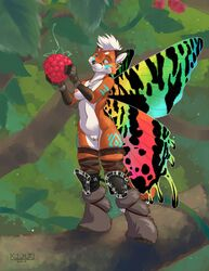 2017 arthropod blue_eyes bodypaint breasts butterfly_wings canine clothing ear_piercing fairy fantasy female food forest fox fruit insects juno kalahari knee_pads leggings legwear mammal moth nude piercing platinum_blonde pussy raspberry smile tiny_(disambiguation) tree tribal wings