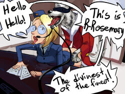 ass blonde_hair canine forced glasses hat headset hong_kong_phooey open_mouth police_hat rape rosemary tongue_out zoophilia