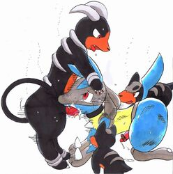 all_fours being_watched cum cum_in_mouth cum_inside fellatio horn houndoom lucario male male/male nintendo oral penis pokemon sex tongue tongue_out unknown_(disambiguation) video_games