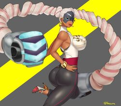arms_(game) ass burakku-ra dark_skin dat_ass earrings female high_heels large_breasts mask nintendo solo standing tight_clothes twintails twintelle white_hair