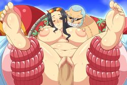 female franky male nico_robin one_piece penis sex soles vaginal_penetration