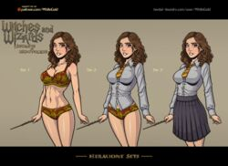 big_breasts bra breasts cleavage female harry_potter hermione_granger panties school_girl school_uniform smile solo wand weapon whitegold