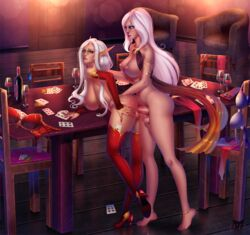 areolae balls big_breasts blood_elf breasts dickgirl erection female from_behind futa_on_female futanari human intersex large_breasts newhalf nipples penetration penis pussy qoppa testicles vaginal_penetration world_of_warcraft