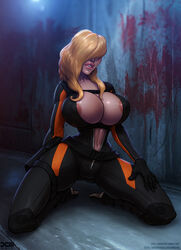 1girl 2017 artist_name barretxiii belly big_breasts blonde blonde_hair blood bodysuit boots breasts cameltoe capcom cleavage covered_breasts covered_eyes dated female female_only gloves gun hair_over_one_eye high_resolution hips holster huge_breasts large_breasts legs lips long_hair navel rachael_foley rachel_foley resident_evil resident_evil_revelations shoes signature solo thighs unzipped weapon web_address