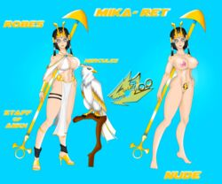 animal armlet belly black_hair breasts crown eagle egyptian eyebrows facial_tattoo feet female female_only footwear gem gordonzoo hair_tubes hips huge_breasts jewelry legs legwear lips logo looking_at_viewer nipples nose pubic_hair shoes short_hair simple_background solo staff thigh_strap toes uncensored weapon