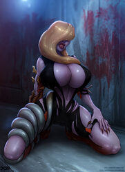 1girl 2017 artist_name barretxiii belly big_breasts blonde blonde_hair blood bodysuit boots breasts cameltoe capcom cleavage covered_breasts covered_eyes dated dress female female_only gloves gun hair_over_one_eye high_resolution hips holster huge_breasts large_breasts legs lips lipstick long_hair makeup monster nail_polish navel rachael_foley rachel_foley resident_evil resident_evil_revelations shoes signature solo tentacle tentacles thighs torn_clothes unzipped weapon web_address