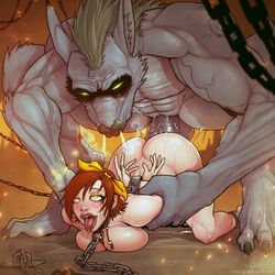 ahe_gao big_breasts bondage breasts chains cleavage collar devil_hs diablo erection female from_behind huge_cock large_breasts leah leah_(diablo) male monster nude penis restrained sex size_difference top-down_bottom-up werewolf