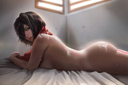 absurdres after_sex ass attack_on_titan bed big_ass black_hair breasts brown_eyes bubble_butt cum cum_on_ass cum_on_back cum_on_body cum_on_clothes cum_on_lower_body cum_on_shoulder cum_on_upper_body curvy female female_only hair_over_one_eye highres hoobamon human indoors looking_at_viewer lying medium_breasts mikasa_ackerman nude on_bed on_stomach parted_lips scarf short_hair side_view sideboob solo sunlight