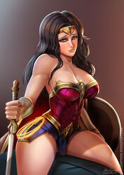 1girl amazon amazonian armor artist_name badcompzero bare_shoulders black_hair blue_eyes blush bracelet breasts cleavage covered_breasts dc dc_comics diana_prince female female_only hips holding_sword jewelry justice_league large_breasts lasso lasso_of_truth legs long_hair looking_at_viewer nail_polish open_mouth shield signature skirt smile solo superhero superheroine sword thighs tiara watermark weapon web_address wonder_woman wonder_woman_(series)