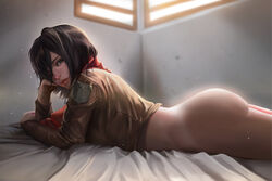 absurdres ass attack_on_titan bed big_ass black_hair bottomless brown_eyes bubble_butt crop_top curvy female female_only hair_over_one_eye highres hoobamon human indoors jacket looking_at_viewer lying mikasa_ackerman on_bed on_stomach scarf short_hair side_view solo sunlight