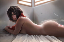 absurdres ass attack_on_titan bed big_ass black_hair breasts bubble_butt closed_eyes cum curvy dark duo ejaculation faceless_male female female_only grimace hair_over_one_eye highres hoobamon human indoors looking_at_viewer lying male medium_breasts mikasa_ackerman nude on_bed on_stomach parted_lips scarf short_hair side_view sideboob solo_focus sunlight