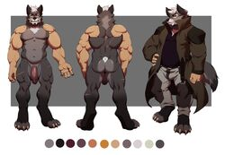 2017 abs anthro artificial_limbs ass balls belly big_balls big_penis black_nose body_hair bulge canine character_(alloy) chest_hair chest_tuft claws clothed clothing coat cybernetics cyborg digitigrade facial_hair flaccid fur grey_fur hair humanoid_penis machine male mammal manly model_sheet multicolored_fur musclegut muscular muscular_back muscular_male nipples nude orange_eyes pants pecs penis scar solo standing tatsumichi tuft vein veiny_penis white_claws white_hair wolf