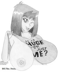 1girl areolae big_breasts cleavage curvy erect_nipples eyelashes female front_view gigantic_breasts huge_breasts imminent_sex large_breasts lefrenchfox open_mouth partially_nude puffy_nipples short_hair smile solo standing straight tea_gardner voluptuous wink yu-gi-oh!