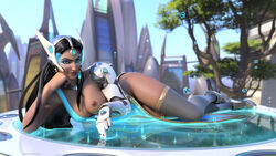 3d absurdres areolae black_hair blizzard_entertainment breasts dark-skinned_female dark_skin ellowas female female_only highres long_hair looking_at_viewer nipples on_side overwatch solo symmetra topless