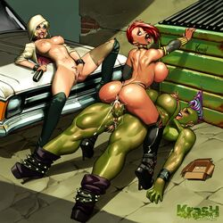 2girls anus ass black_widow breasts cowgirl_position cum cum_in_pussy cum_inside dickgirl fabalex female futa_on_female futanari green_skin gwen_stacey intersex jennifer_walters kras krashzone large_breasts legio masturbation natasha_romanov nipples orc penis pussy sex she-hulk spiderverse