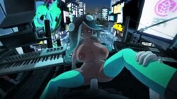 animated areolae big_breasts bouncing_breasts breasts dark-skinned_female dark_skin erection female interracial large_breasts looking_at_viewer male manyakis marina_(splatoon) nipples octoling penetration penis pov pussy sex skindentation splatoon splatoon_2 spread_legs straight thighhighs vaginal_penetration