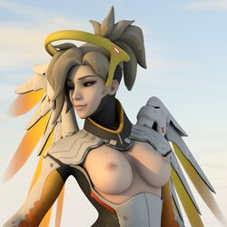 3d areolae artist_request blonde_hair breasts exposed exposed_breasts female female_only mercy nipples noanon overwatch solo