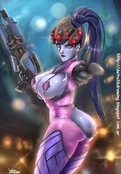 1girl artist_name ass black_gloves blizzard_entertainment bodysuit breasts cleavage clothed_female clothes covered_breasts dat_ass delta26 elbow_gloves female female_only gloves gun head_mounted_display high_resolution hips holding_gun holding_object holding_weapon large_breasts legs leotard lipstick long_hair makeup overwatch ponytail purple_hair purple_lips purple_skin rifle sideboob signature skin_tight sniper_rifle solo standing thighs tied_hair tight tight_clothes very_high_resolution visor weapon web_address widowmaker yellow_eyes