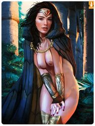 1girl actress amazon amazonian armor artist_name belly black_hair boots bracelet breasts brown_eyes brown_gloves celebrity cloak clothed_female clothes dc diana_prince female female_only fingerless_gloves footwear gal_gadot gloves heartbreakeh hips jewelry justice_league kes large_breasts legs long_hair medium_breasts nail_polish nipples nude nude_female realistic shoes solo standing superhero superheroine thigh_boots thighhighs thighs tiara topless wonder_woman wonder_woman_(series)