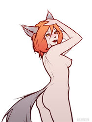 animal_ears arms_up ass back breasts cat_tail female h1kar1ko hands_on_own_head nipples nude original sideboob simple_background slit_pupils solo tail white_background yellow_sclera