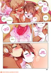 2018 adrian_iliovici after_orgasm all_fours anal anal_sex anthro anthro_on_anthro ass backsack balls blue_eyes blush brown_fur brown_hair canine clothing comic cum cum_while_penetrated dialogue doggy_style duo fox from_behind_position fur hair lying male male/male mammal milo_stefferson mustelid nude on_front otter penetration penis sex shorts tan_balls tokifuji white_balls