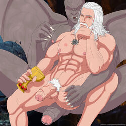 dettlaff duo gay geralt_(the_witcher) geralt_of_rivia greeneyedwolfking human male monster nude penis pubes the_witcher the_witcher_3 uncensored uncut vampire