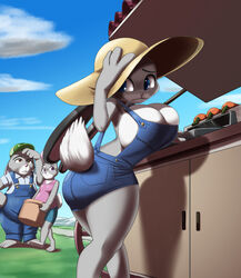 2017 anthro ass barefoot basket big_breasts big_butt blue_eyes bonnie_hopps breast_size_difference breasts brown_eyes buckteeth cash_register cleavage clothed clothing daughter disney eyebrows eyelashes family father female group hand_on_head hand_on_hip hat hi_res holding_object huge_breasts judy_hopps kojiro-highwind lagomorph looking_back male mammal mother outside overalls parent purple_eyes rabbit small_breasts stu_hopps teeth thick_thighs zootopia