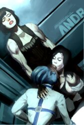 3girls ahe_gao clothed commander_shepard fellatio femshep futa_on_female futadom futanari idlecil liara_t'soni mass_effect miranda_lawson oral penis threesome uncensored