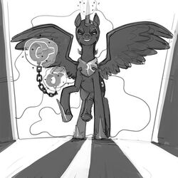alicorn animal_genitalia animal_penis areola armor chains dickgirl equine equine_penis feral first_person_view friendship_is_magic helmet horn intersex kevinsano low-angle_view mammal monochrome my_little_pony nightmare_moon_(mlp) nipples penis shackles solo wing_boner wings worm's-eye_view