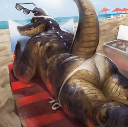 2017 alligator ambiguous_gender anthro ass avian beach beverage big_tail bird can chair clothed clothing crocodilian detailed_background eyewear glasses green_eyes hi_res holding_object long_tail looking_at_viewer looking_back lying on_floor on_front outside partially_clothed raised_tail rear_view relaxing reptile sand scales scalie sea seaside sharp_teeth sky snout soda solo sunny surprise tacklebox teeth thick_tail thick_thighs thong umbrella underwear water