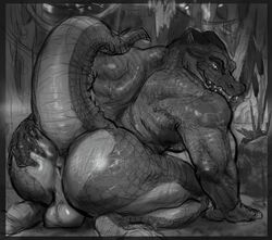 2017 all_fours alligator anthro anus ass balls big_butt crocodilian forest killioma looking_at_viewer looking_back male monochrome muscular muscular_male nude outside presenting presenting_anus presenting_hindquarters raised_tail reptile scales scalie solo spread_butt spreading teeth tree