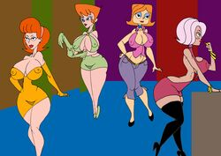 4girls a_kind_of_magic adult back_cutout bangs bare_shoulders belt big_breasts black_eyes black_legwear black_stockings blue_gloves blush_sticker bracelet busty caglioro3666 cartoon_network choker cleavage cleavage_cutout crossover curvy debs_turnbull detailed_background dexter's_laboratory dexter's_mom disney dress ear_piercing earrings elbow_gloves erect_nipple erect_nipples eyelashes eyeshadow female female/female female_only front_view gloves green_eyes green_gloves group hairband hand_on_hip hands_on_hip hands_on_hips high_heel_boots high_heels holding_object hourglass_figure human indoor inside jeans legwear linda_flynn-fletcher lipstick makeup mature midriff milf minidress mother multiple_females multiple_girls nipple_bulge orange_hair phineas_and_ferb piercing pink_hair pose posing red_lipstick robotboy room shoes short_dress short_hair side_view standing stockings voluptuous wide_hips willow yellow_gloves
