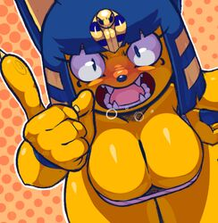 2017 5_fingers angry animal_crossing ankha anthro bandage bent_over big_breasts blonde_hair blue_eyes blue_fur blue_hair blue_nose blush breasts claws cleavage dotted_background egyptian eyebrows eyelashes fangs feline female fur furry hand_on_hip hanging_breasts looking_at_viewer mammal multicolored_fur multicolored_hair nintendo open_mouth pattern_background pointing sharp_teeth simple_background solo teckworks teeth thick_thighs tongue two_tone_hair wide_hips yelling yellow_fur